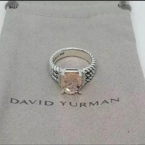 David Yurman Petite Morganite Diamond Wheaton Ring